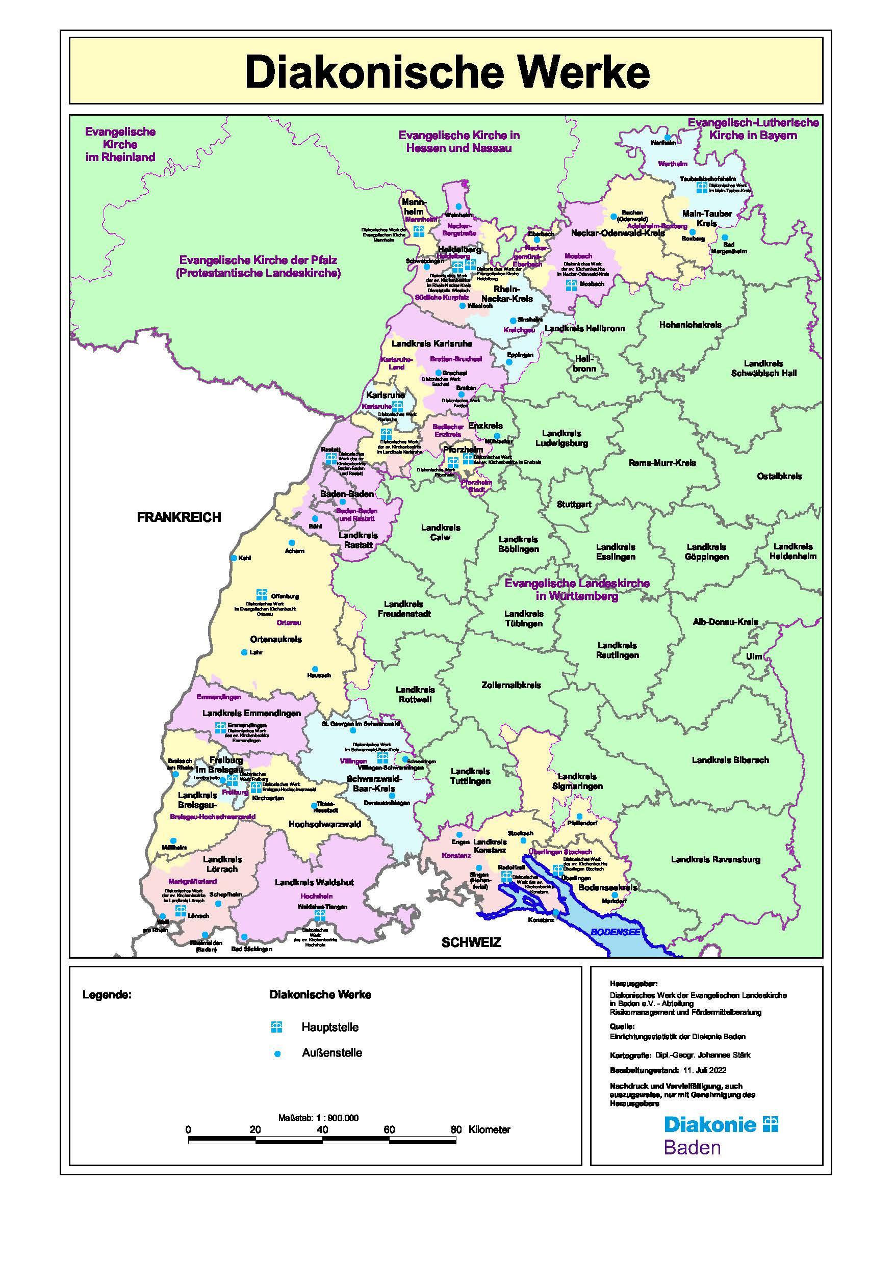 Karte Der Diakonischen Werke In Baden Diakonie Baden